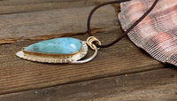 Larimar with gold and silver