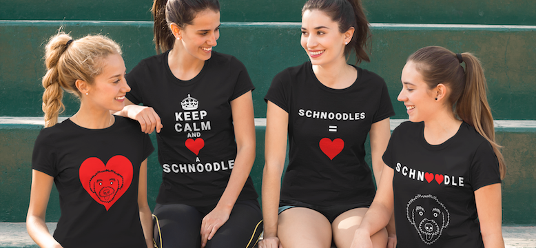 Four women wearing various T-Shirt designs from The Schnoodle Show.