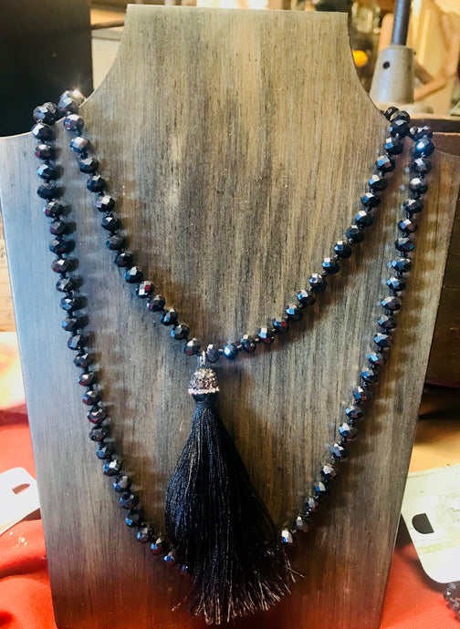 Dark Navy Blue Beaded Necklace with Fringe