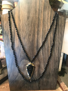 Black Faceted Beaded Long Layering Necklace with Gold Plated Arrowhead