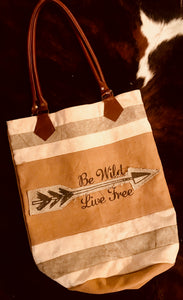 Large Canvas Tote - Be Wild Live Free