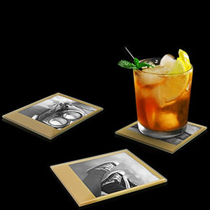 Retro Gold Instant Coasters - Burnt Spaces