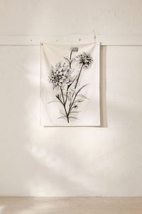 Black Ink Flower Tapestry