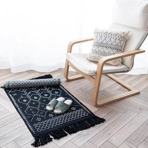 Luna Black Printed Rug - Burnt Spaces