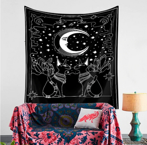 Tarot Cats Psychedelic Tapestry - Burnt Spaces