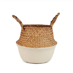 Natural Seagrass Woven Belly Basket (Beige) - Burnt Spaces