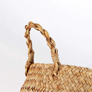 Natural Seagrass Woven Belly Basket (Blue) - Burnt Spaces