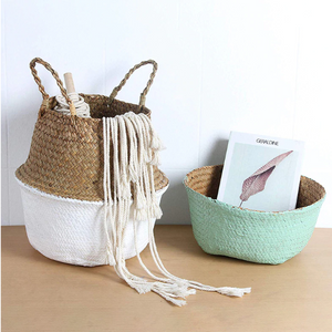 Natural Seagrass Woven Belly Basket (Mint Green) - Burnt Spaces