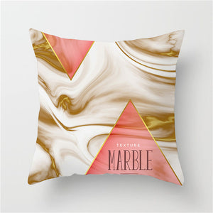 Marbled Pink and Gold Cushion Cover