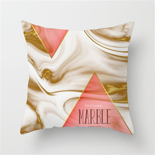 Marbled Pink and Gold Cushion Cover - Burnt Spaces