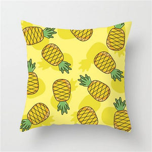 Bright Yellow Pineapple Print Cushion Cover