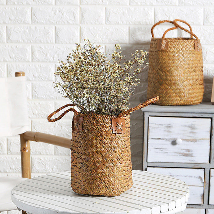 Natural Seagrass Woven Flower Basket - Burnt Spaces