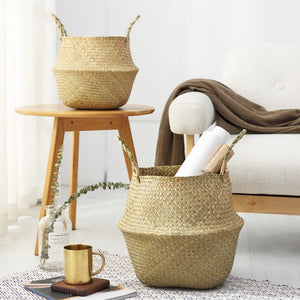 Natural Seagrass Woven Belly Basket - Burnt Spaces
