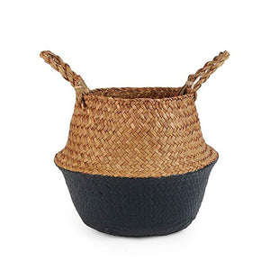 Natural Seagrass Woven Belly Basket (Black) - Burnt Spaces