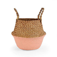 Load image into Gallery viewer, Natural Seagrass Woven Belly Basket (Salmon) - Burnt Spaces