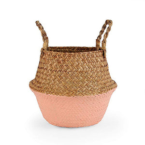 Natural Seagrass Woven Belly Basket (Salmon) - Burnt Spaces