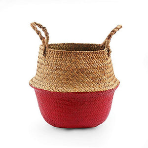 Natural Seagrass Woven Belly Basket (Red) - Burnt Spaces