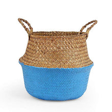 Load image into Gallery viewer, Natural Seagrass Woven Belly Basket (Blue) - Burnt Spaces