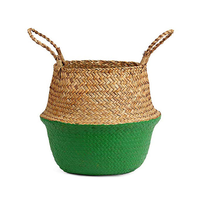 Natural Seagrass Woven Belly Basket (Light Green) - Burnt Spaces