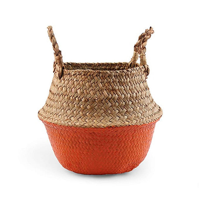 Natural Seagrass Woven Belly Basket (Orange) - Burnt Spaces