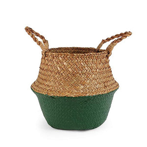 Natural Seagrass Woven Belly Basket (Green) - Burnt Spaces