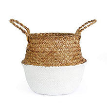 Load image into Gallery viewer, Natural Seagrass Woven Belly Basket (White) - Burnt Spaces