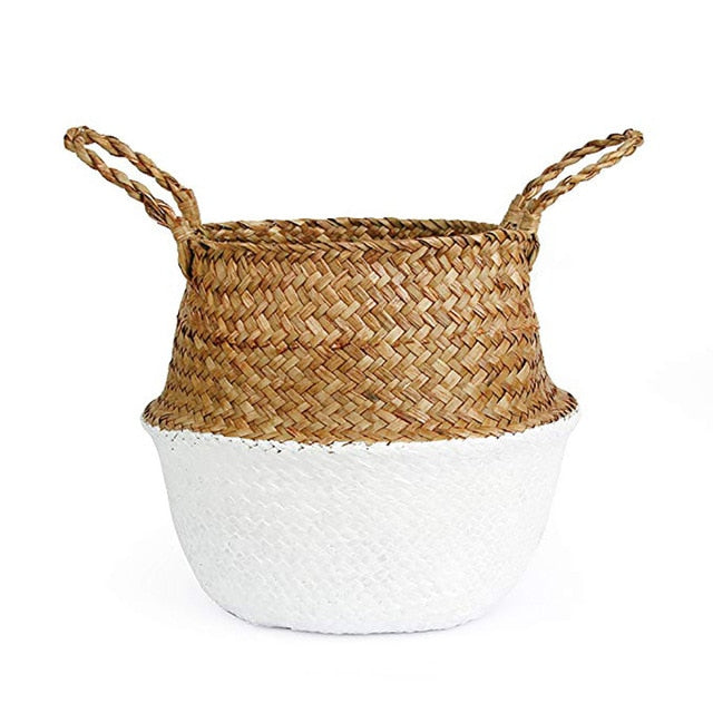 Natural Seagrass Woven Belly Basket (White) - Burnt Spaces