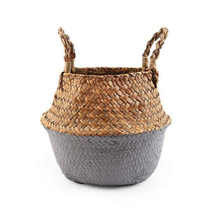 Natural Seagrass Woven Belly Basket (Grey) - Burnt Spaces
