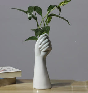 Ceramic Hand Flower Vase - Burnt Spaces