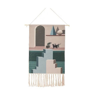 Kitty Hand-knitted Tassel Tapestry - Burnt Spaces