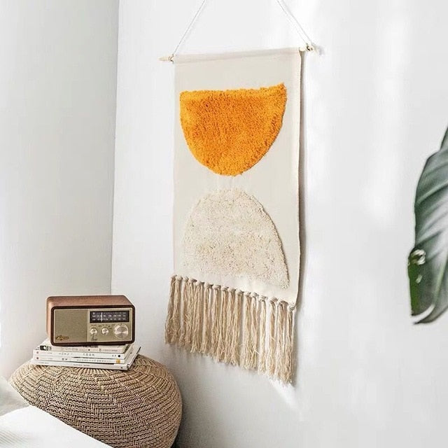 Tobi Tufted Hand-knitted Tassel Tapestry - Burnt Spaces