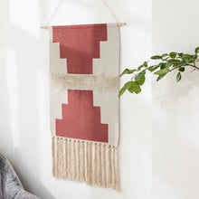 Load image into Gallery viewer, Jasmine Hand-knitted Tassel Tapestry - Burnt Spaces