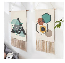 Load image into Gallery viewer, Joey Geometric Hand-knitted Tassel Tapestry - Burnt Spaces
