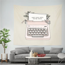 Load image into Gallery viewer, Inspirational Typewriter Tapestry - Burnt Spaces