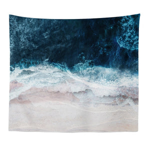 Blue Ocean Waves Tapestry - Burnt Spaces