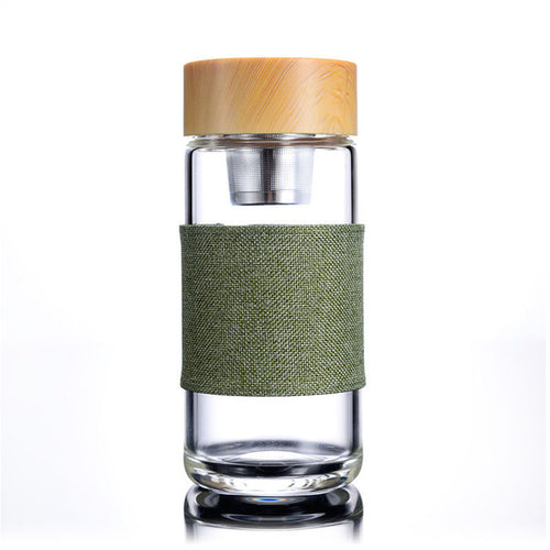 Glass Tumbler with Tea Infuser Flax Sleeve - Burnt Spaces