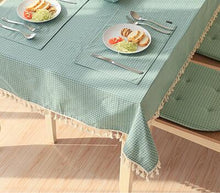 Load image into Gallery viewer, Eli's Tassel Table Linen Green - Burnt Spaces