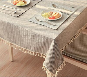 Eli's Tassel Table Linen Mocha - Burnt Spaces