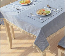 Load image into Gallery viewer, Eli's Tassel Table Linen Blue - Burnt Spaces