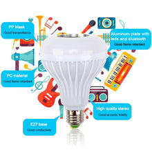 Load image into Gallery viewer, RGB Bluetooth Speaker Dimmable 12W LED Bulb Light 12W - Burnt Spaces