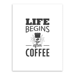 Life Begins With Coffee Canvas Print - Burnt Spaces