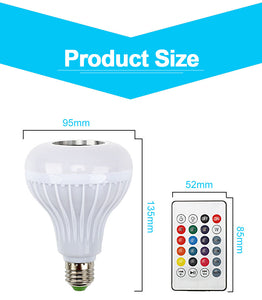 RGB Bluetooth Speaker Dimmable 12W LED Bulb Light 12W - Burnt Spaces