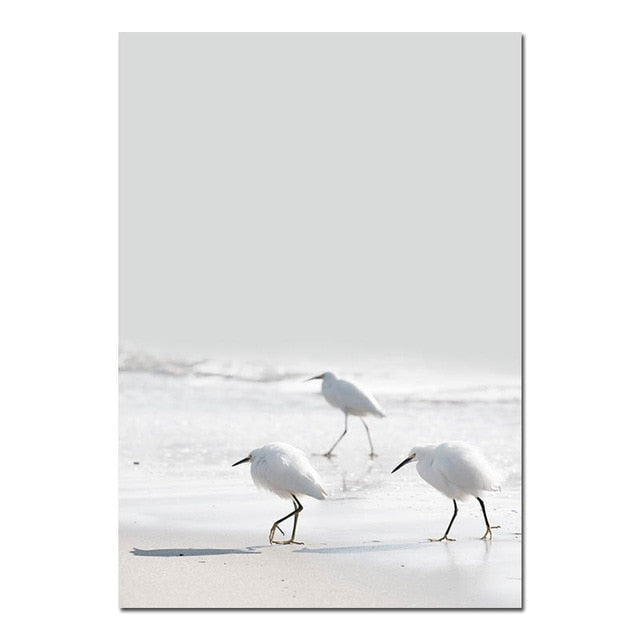 Birds at The Beach Canvas Prints - Burnt Spaces