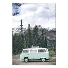 Load image into Gallery viewer, Mint VW Van Canvas Print - Burnt Spaces