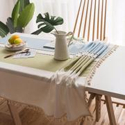 Blue/Green Embroidered Stitching Table Cover - Burnt Spaces
