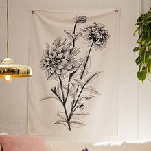 Load image into Gallery viewer, Black Ink Flower Tapestry