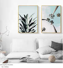 Load image into Gallery viewer, Blue Sky's and Palm Trees Canvas Print - Burnt Spaces