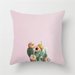 Pink Retro Donuts On a Cactus Cushion Cover - Burnt Spaces