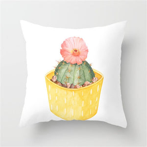 Blooming Cactus Cushion Cover