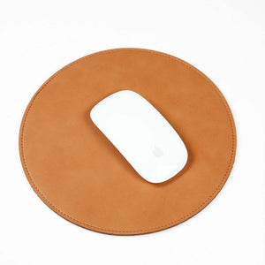 Round Faux Leather Mouse Pad - Burnt Spaces